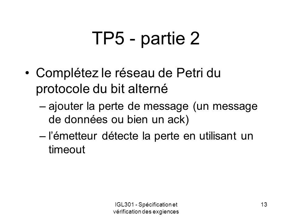 IGL301 - Spécification et vérification des exgiences 13 TP5 - partie 2 Complétez le réseau de Petri du protocole du bit alterné –ajouter la perte de m