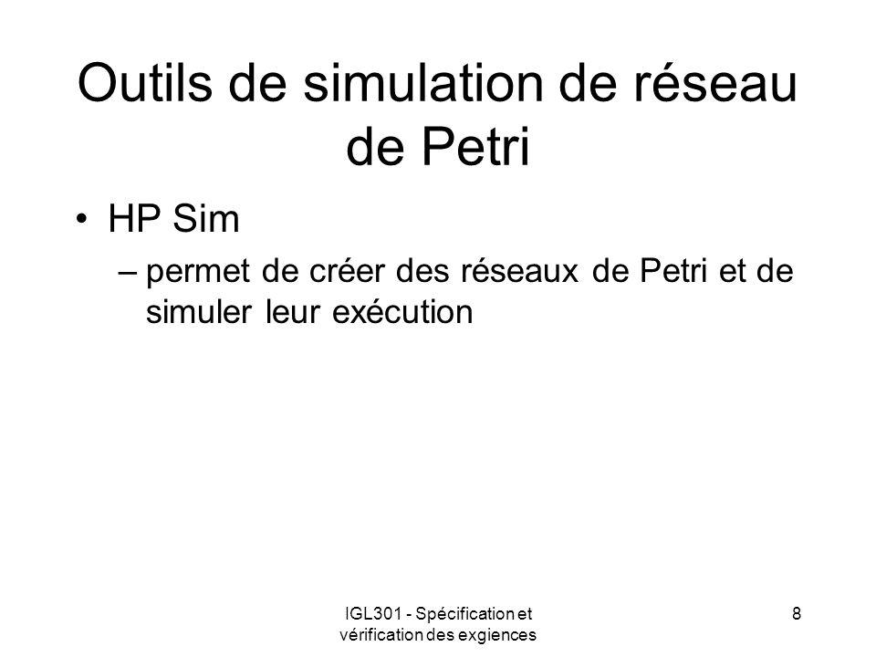 IGL301 - Spécification et vérification des exgiences 8 Outils de simulation de réseau de Petri HP Sim –permet de créer des réseaux de Petri et de simu