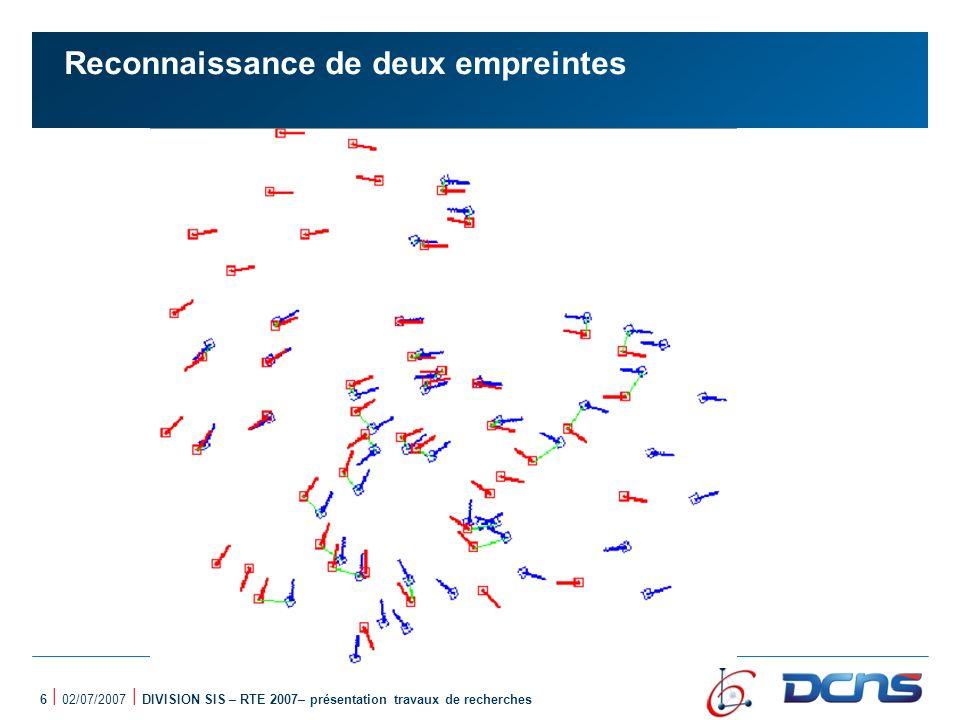 17 | 02/07/2007 | DIVISION SIS – RTE 2007– présentation travaux de recherches Représentation qualitative dune empreinte