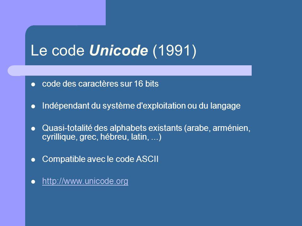 Le code Unicode (1991) code des caractères sur 16 bits Indépendant du système d'exploitation ou du langage Quasi-totalité des alphabets existants (ara