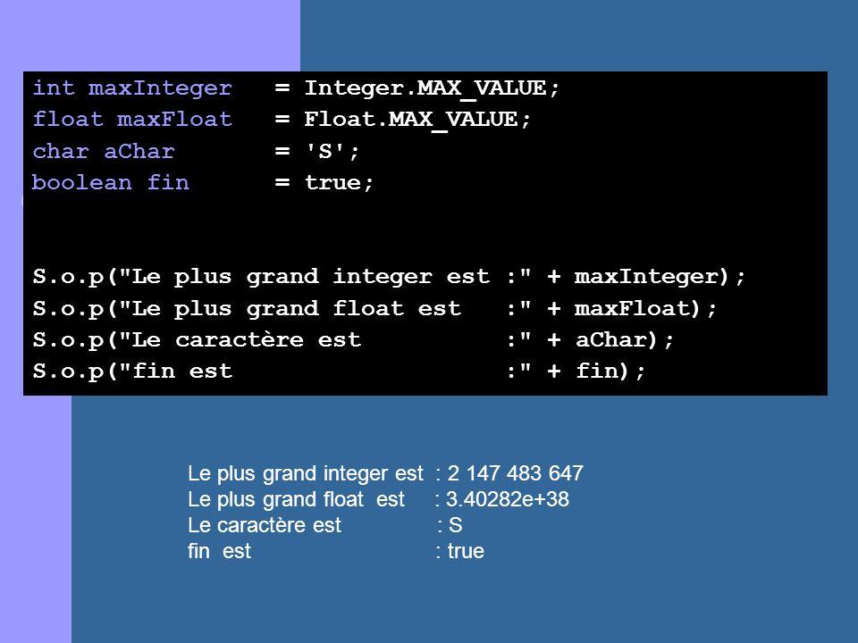 int maxInteger = Integer.MAX_VALUE; float maxFloat = Float.MAX_VALUE; char aChar = 'S'; boolean fin = true; S.o.p(