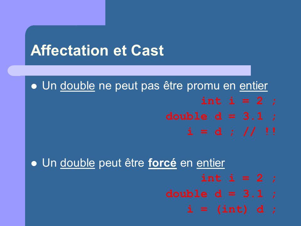 Affectation et Cast Un double ne peut pas être promu en entier int i = 2 ; double d = 3.1 ; i = d ; // !! Un double peut être forcé en entier int i =