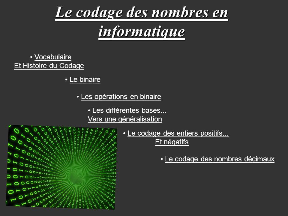 Le codage des nombres en informatique Vocabulaire Et Histoire du Codage Les opérations en binaire Les différentes bases... Vers une généralisation Le