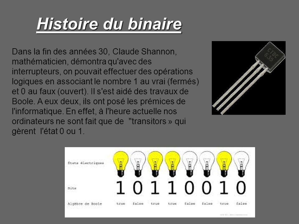 Histoire du binaire Dans la fin des années 30, Claude Shannon, mathématicien, démontra qu'avec des interrupteurs, on pouvait effectuer des opérations