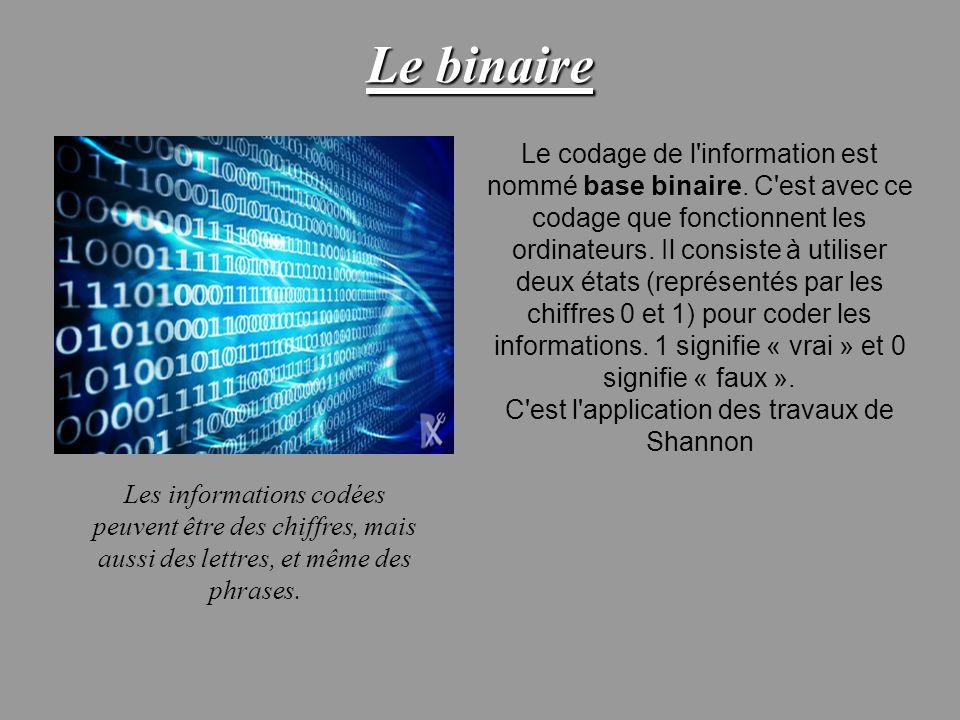 Le binaire Le codage de l'information est nommé base binaire. C'est avec ce codage que fonctionnent les ordinateurs. Il consiste à utiliser deux états