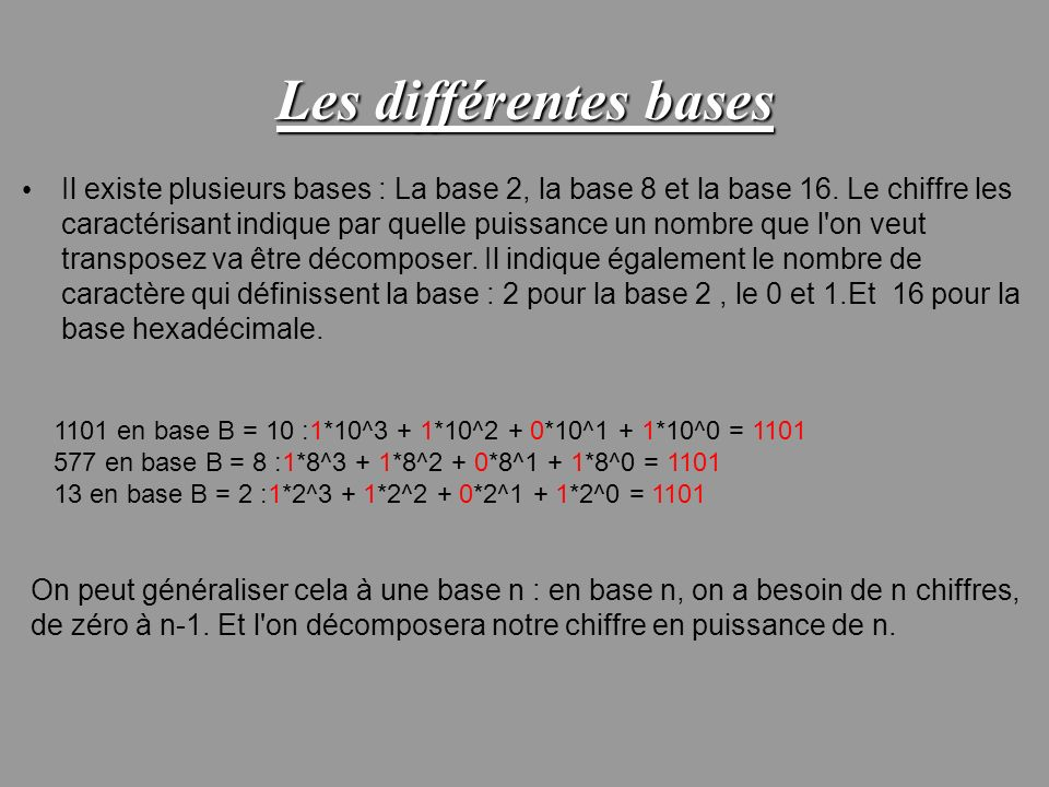 Les différentes bases Il existe plusieurs bases : La base 2, la base 8 et la base 16. Le chiffre les caractérisant indique par quelle puissance un nom