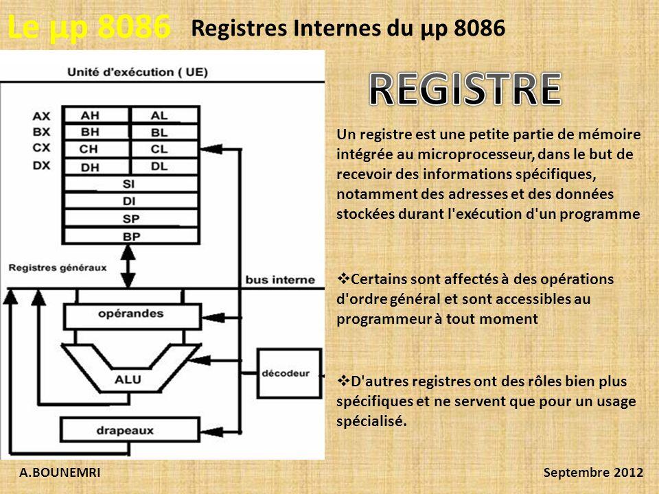 A.BOUNEMRISeptembre 2012 Le µp 8086 Registres Internes du µp 8086 Un registre est une petite partie de mémoire intégrée au microprocesseur, dans le bu