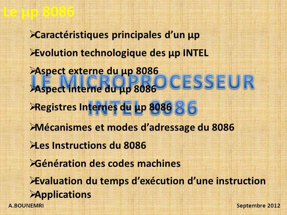 A.BOUNEMRISeptembre 2012 Caractéristiques principales dun µp Evolution technologique des µp INTEL Aspect externe du µp 8086 Aspect interne du µp 8086