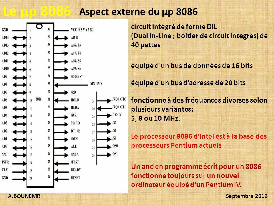 A.BOUNEMRISeptembre 2012 Le µp 8086 Aspect externe du µp 8086 circuit intégré de forme DIL (Dual In-Line ; boitier de circuit integres) de 40 pattes é