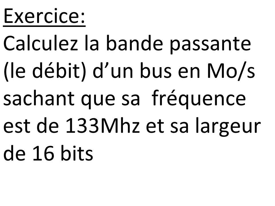 Exercice: Calculez la bande passante (le débit) dun bus en Mo/s sachant que sa fréquence est de 133Mhz et sa largeur de 16 bits