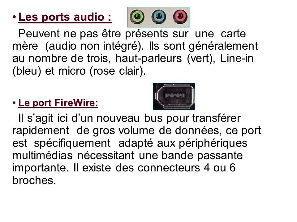 Les ports audio :Les ports audio : Peuvent ne pas être présents sur une carte mère (audio non intégré). Ils sont généralement au nombre de trois, haut