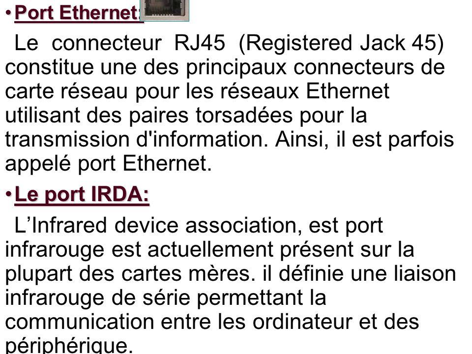 Port Ethernet:Port Ethernet: Le connecteur RJ45 (Registered Jack 45) constitue une des principaux connecteurs de carte réseau pour les réseaux Etherne