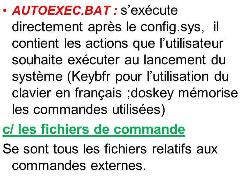 AUTOEXEC.BAT : sexécute directement après le config.sys, il contient les actions que lutilisateur souhaite exécuter au lancement du système (Keybfr po