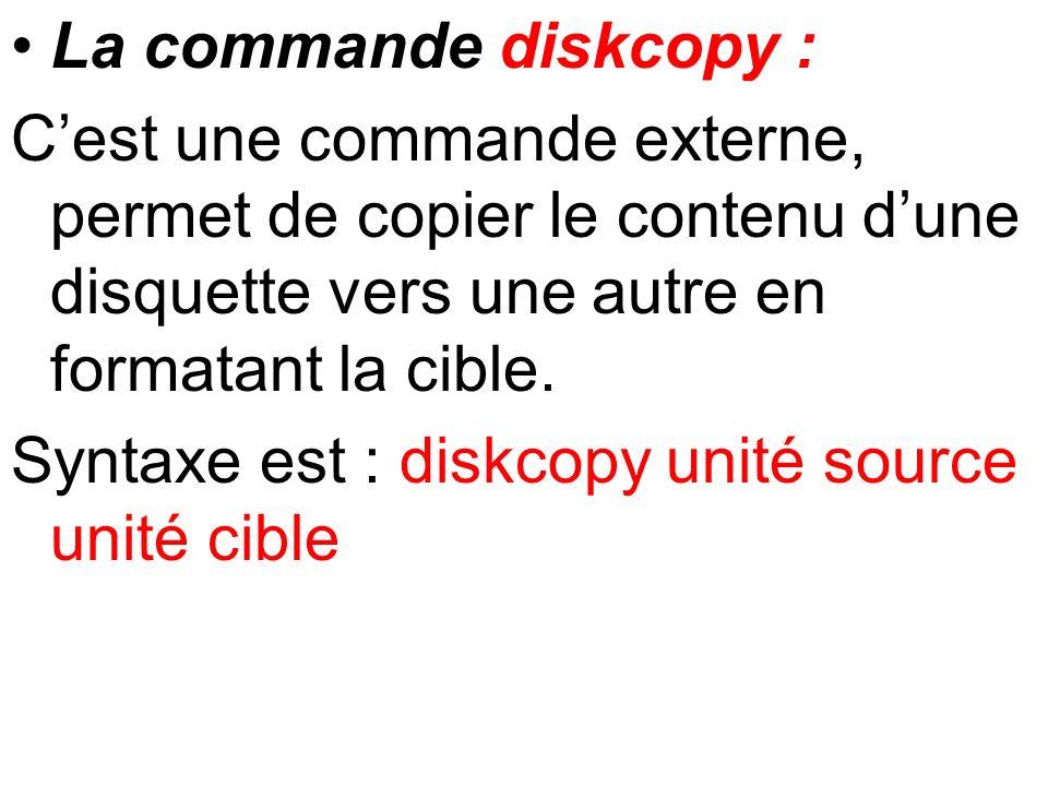 La commande diskcopy : Cest une commande externe, permet de copier le contenu dune disquette vers une autre en formatant la cible. Syntaxe est : diskc