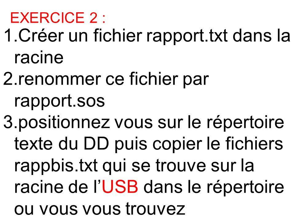 1.Créer un fichier rapport.txt dans la racine 2.renommer ce fichier par rapport.sos 3.positionnez vous sur le répertoire texte du DD puis copier le fi