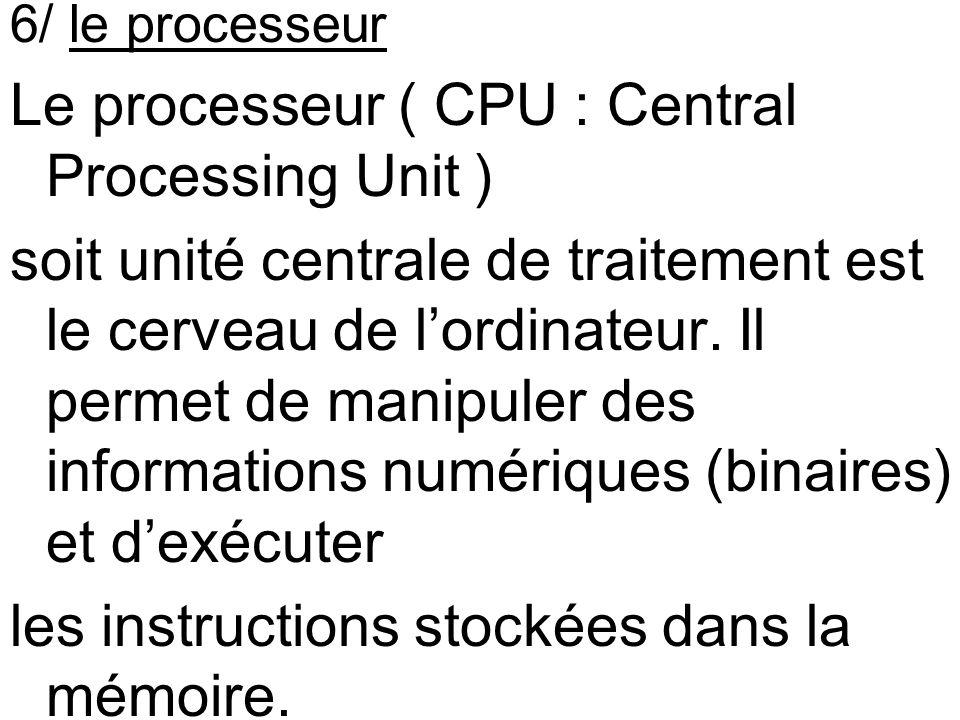 6/ le processeur Le processeur ( CPU : Central Processing Unit ) soit unité centrale de traitement est le cerveau de lordinateur. Il permet de manipul