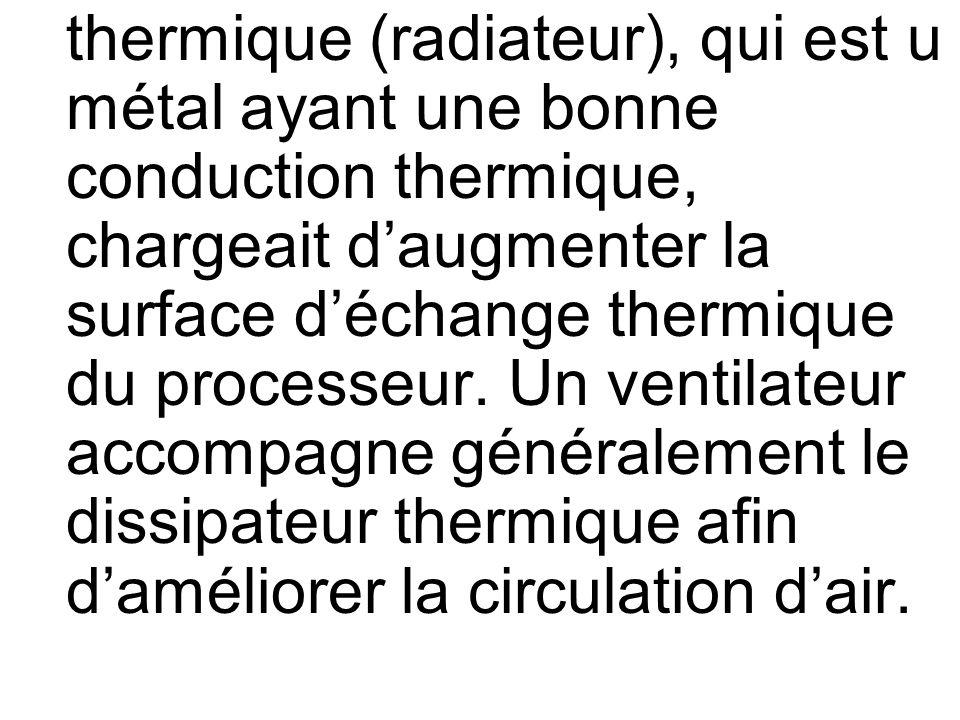 thermique (radiateur), qui est u métal ayant une bonne conduction thermique, chargeait daugmenter la surface déchange thermique du processeur. Un vent