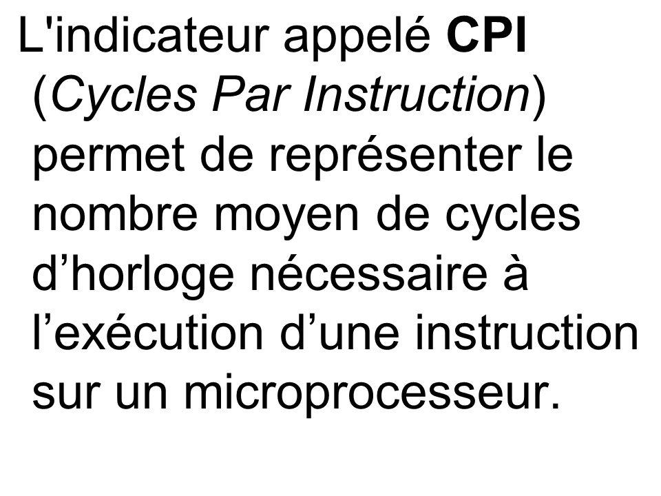 L'indicateur appelé CPI (Cycles Par Instruction) permet de représenter le nombre moyen de cycles dhorloge nécessaire à lexécution dune instruction sur