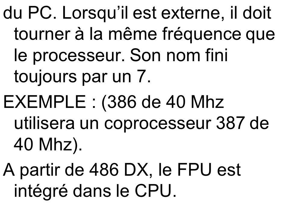 du PC. Lorsquil est externe, il doit tourner à la même fréquence que le processeur. Son nom fini toujours par un 7. EXEMPLE : (386 de 40 Mhz utilisera
