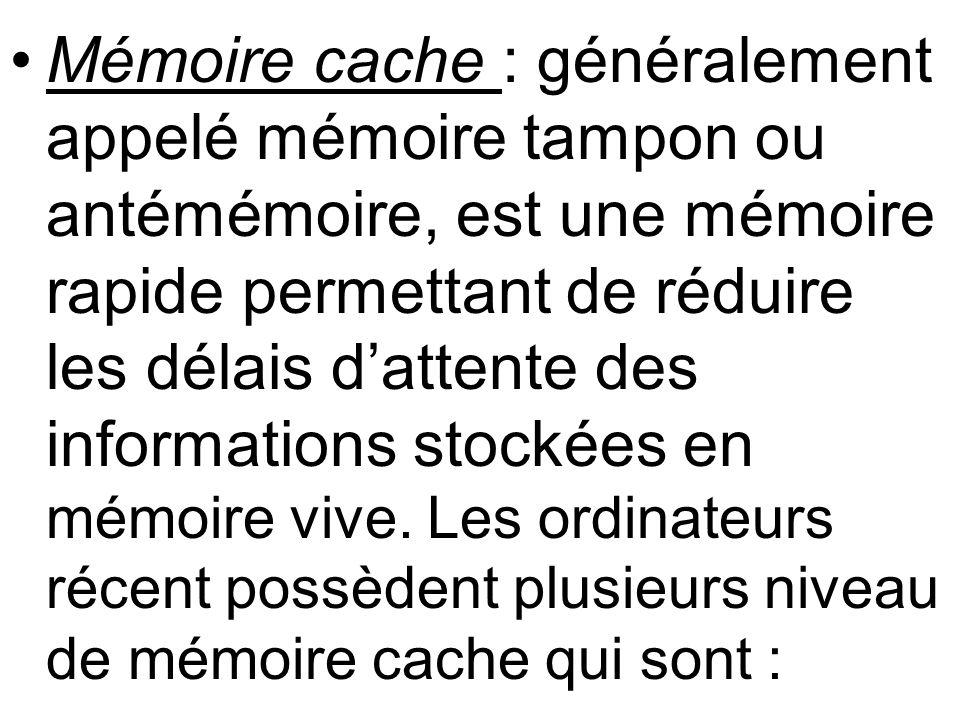 Mémoire cache : généralement appelé mémoire tampon ou antémémoire, est une mémoire rapide permettant de réduire les délais dattente des informations s