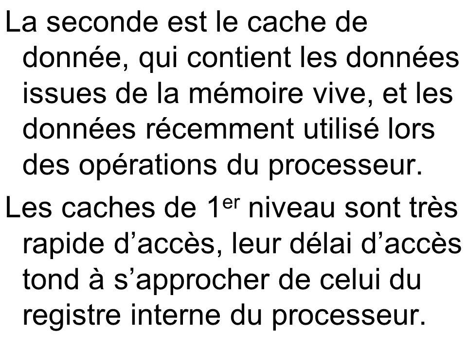 La seconde est le cache de donnée, qui contient les données issues de la mémoire vive, et les données récemment utilisé lors des opérations du process
