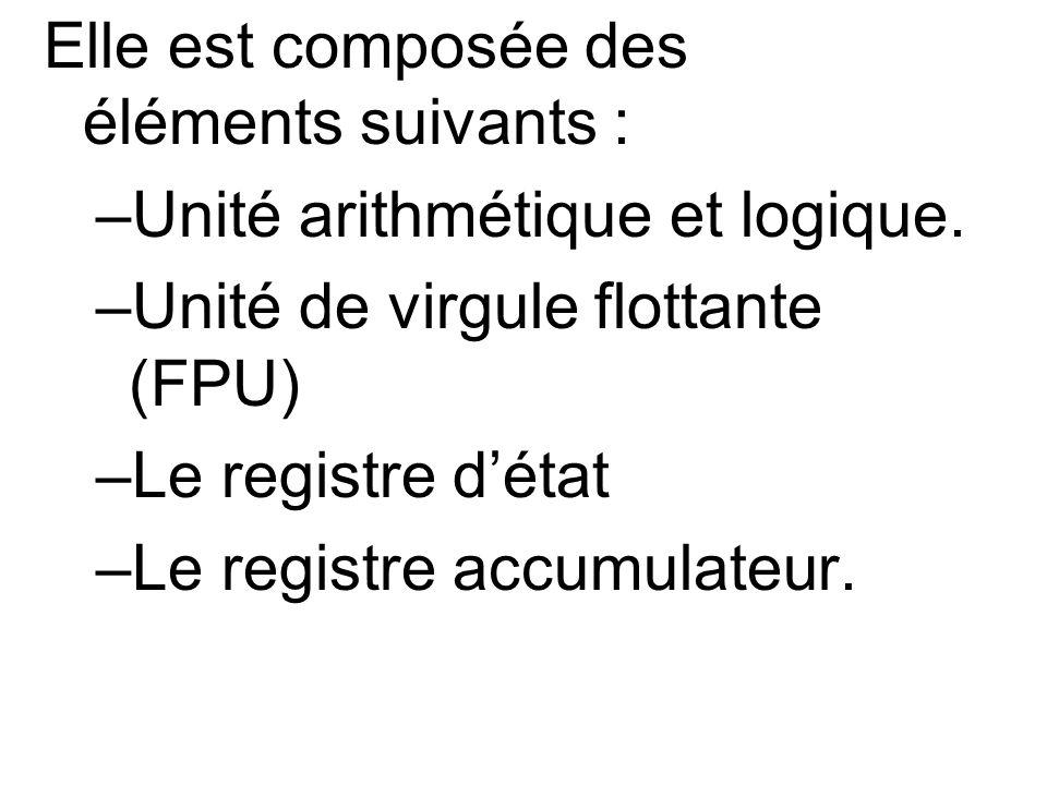 Elle est composée des éléments suivants : –Unité arithmétique et logique. –Unité de virgule flottante (FPU) –Le registre détat –Le registre accumulate