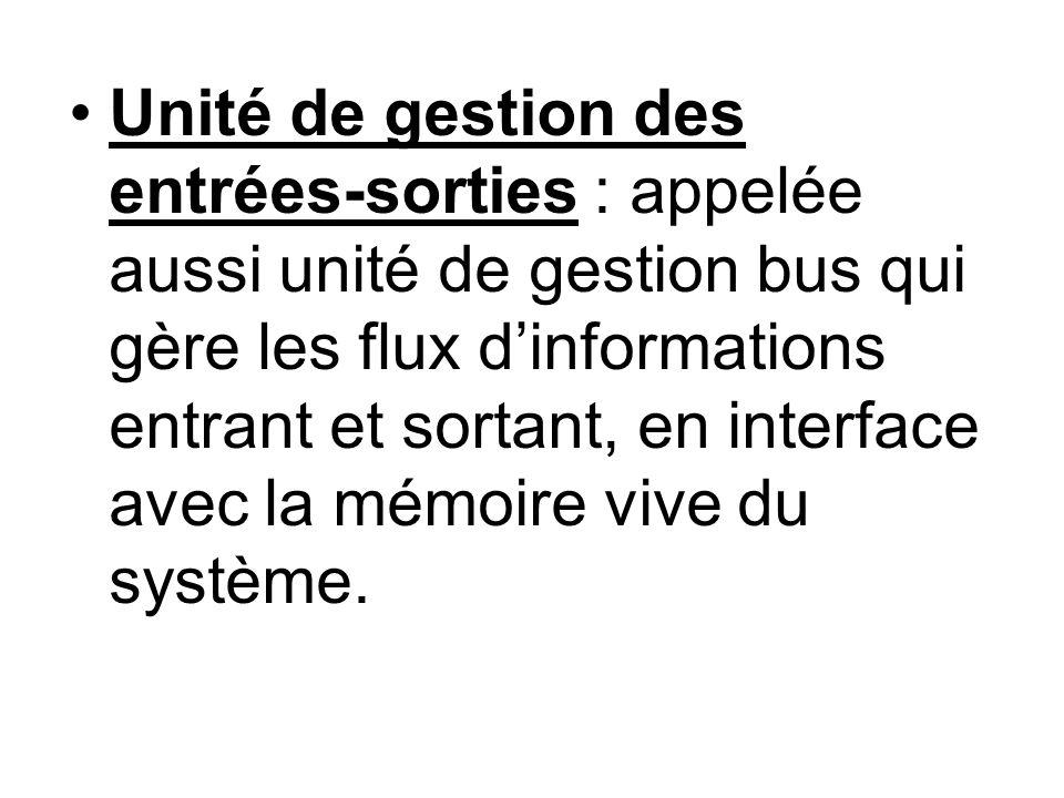 Unité de gestion des entrées-sorties : appelée aussi unité de gestion bus qui gère les flux dinformations entrant et sortant, en interface avec la mém