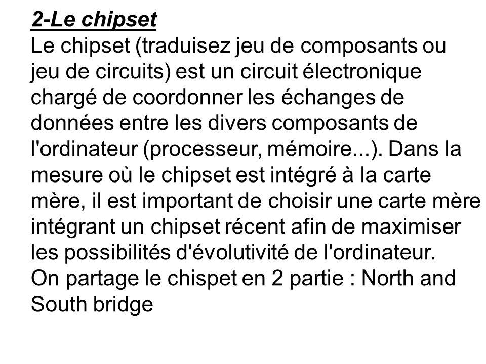 2-Le chipset Le chipset (traduisez jeu de composants ou jeu de circuits) est un circuit électronique chargé de coordonner les échanges de données entr
