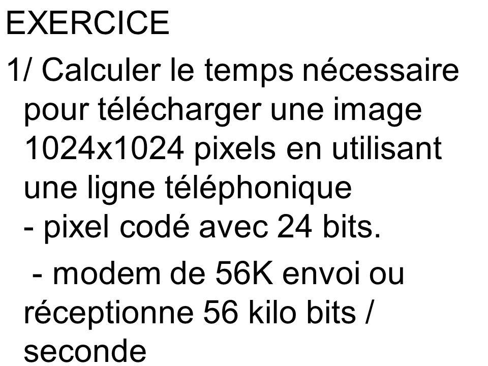 EXERCICE 1/ Calculer le temps nécessaire pour télécharger une image 1024x1024 pixels en utilisant une ligne téléphonique - pixel codé avec 24 bits. -