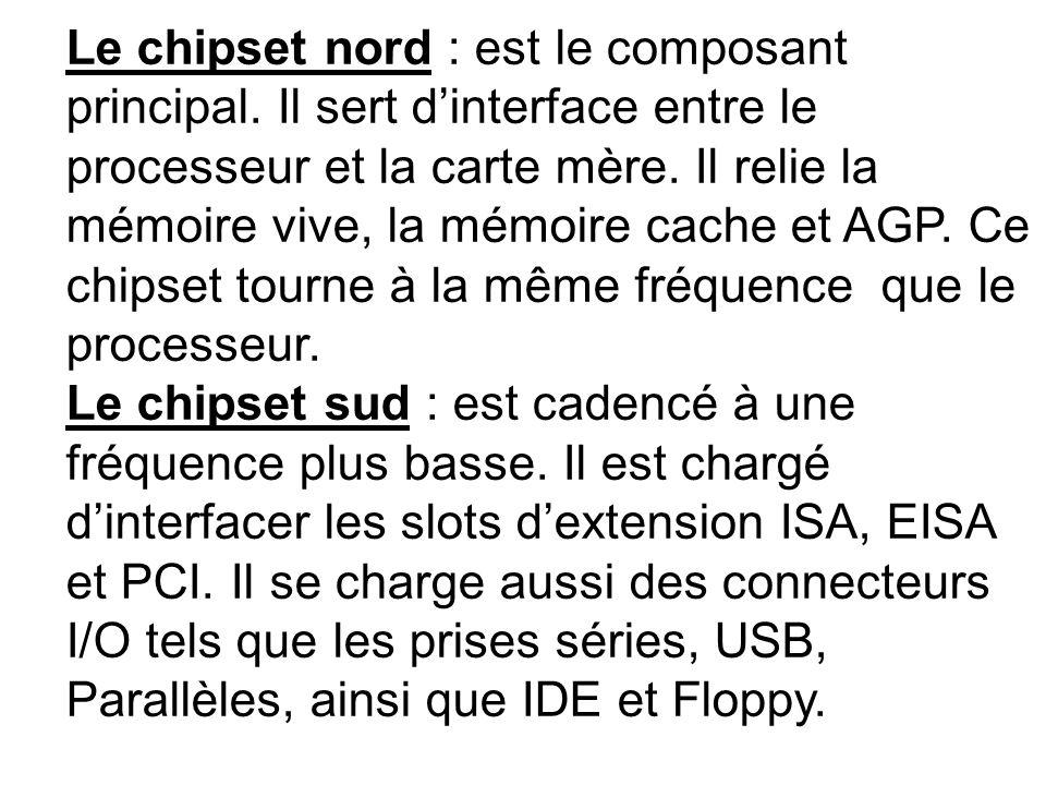 Le chipset nord : est le composant principal. Il sert dinterface entre le processeur et la carte mère. Il relie la mémoire vive, la mémoire cache et A