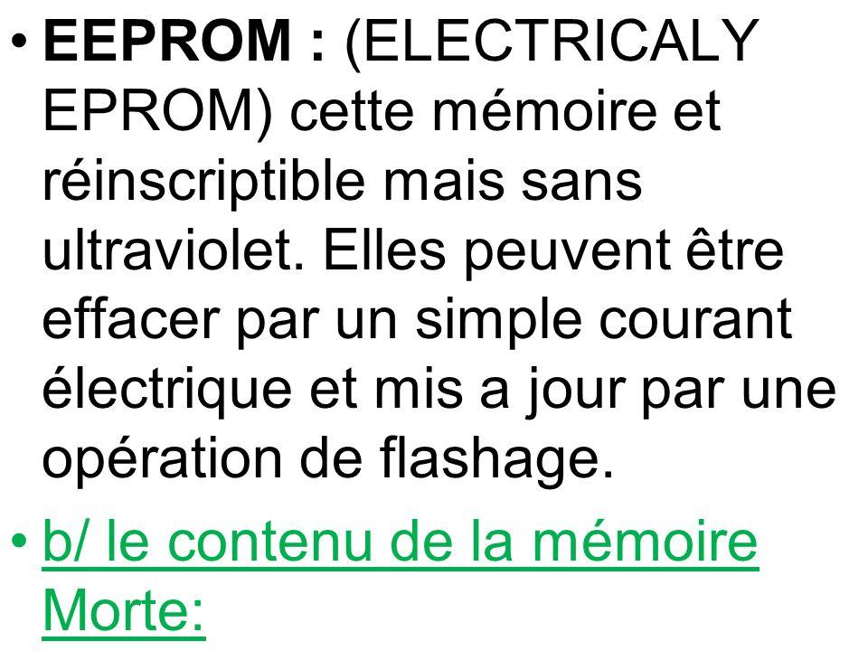 EEPROM : (ELECTRICALY EPROM) cette mémoire et réinscriptible mais sans ultraviolet. Elles peuvent être effacer par un simple courant électrique et mis