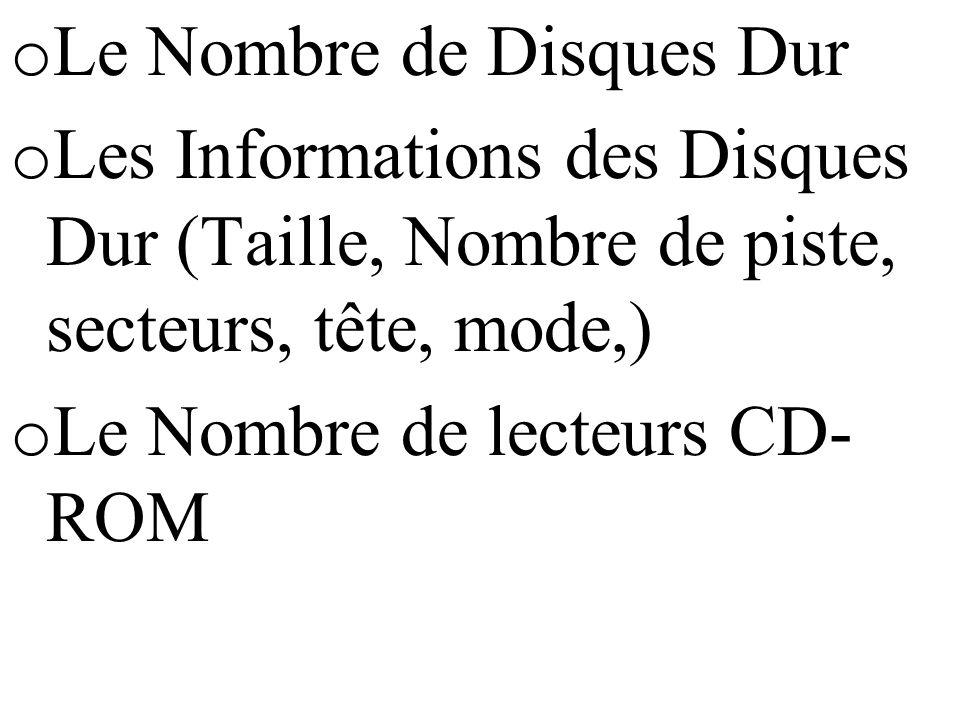 o Le Nombre de Disques Dur o Les Informations des Disques Dur (Taille, Nombre de piste, secteurs, tête, mode,) o Le Nombre de lecteurs CD- ROM