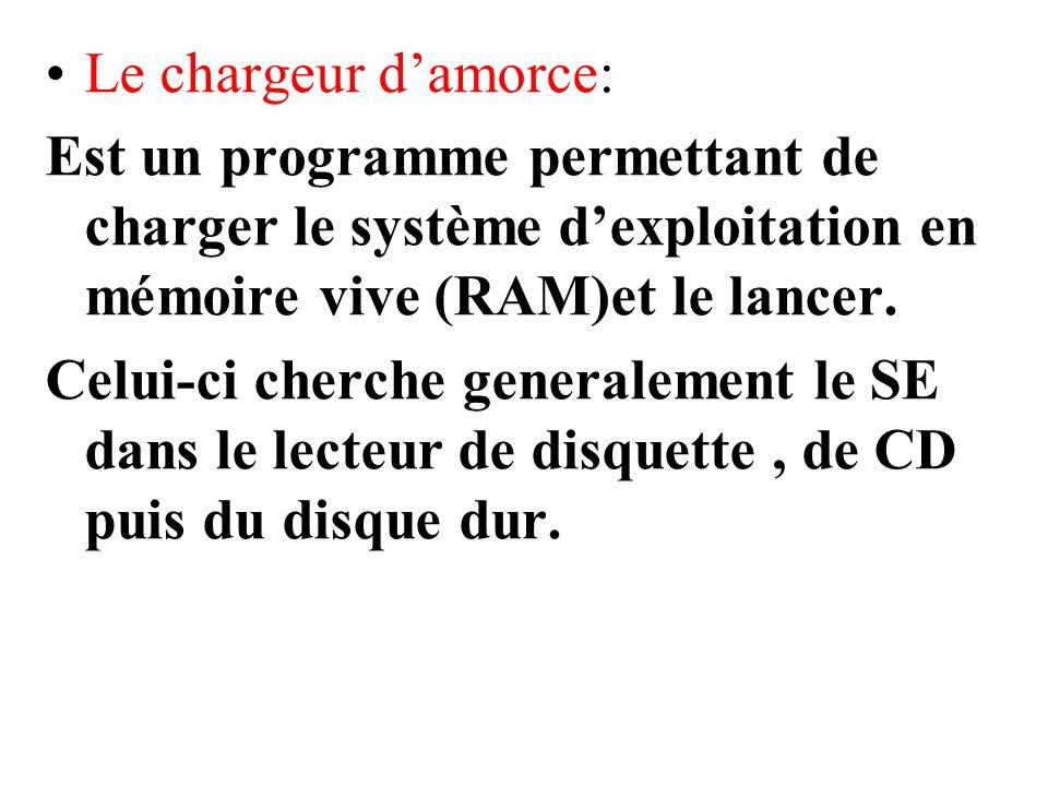 Le chargeur damorce: Est un programme permettant de charger le système dexploitation en mémoire vive (RAM)et le lancer. Celui-ci cherche generalement