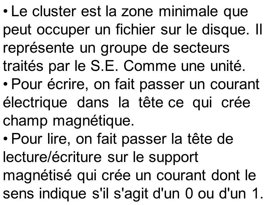 Le cluster est la zone minimale que peut occuper un fichier sur le disque. Il représente un groupe de secteurs traités par le S.E. Comme une unité. Po