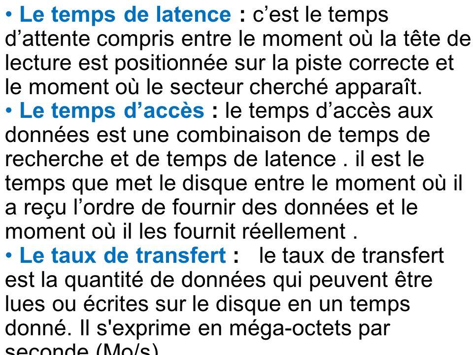 Le temps de latence : cest le temps dattente compris entre le moment où la tête de lecture est positionnée sur la piste correcte et le moment où le se