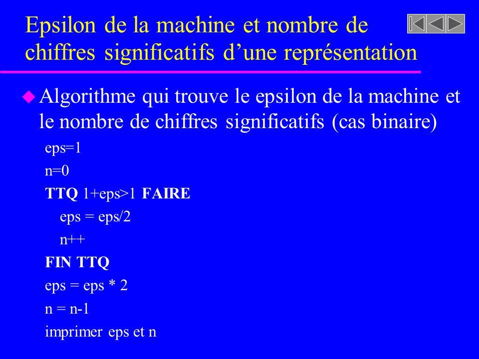 Epsilon de la machine et nombre de chiffres significatifs dune représentation u Algorithme qui trouve le epsilon de la machine et le nombre de chiffre