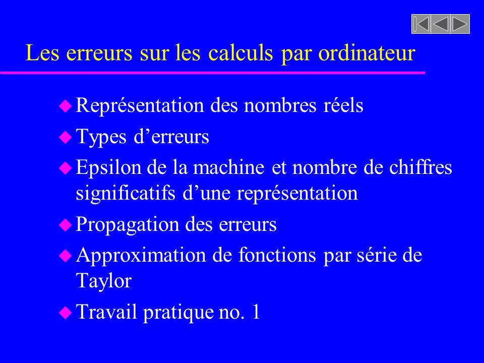 Les erreurs sur les calculs par ordinateur u Représentation des nombres réels u Types derreurs u Epsilon de la machine et nombre de chiffres significa