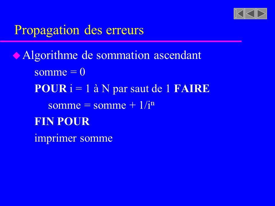 Propagation des erreurs u Algorithme de sommation ascendant somme = 0 POUR i = 1 à N par saut de 1 FAIRE somme = somme + 1/i n FIN POUR imprimer somme