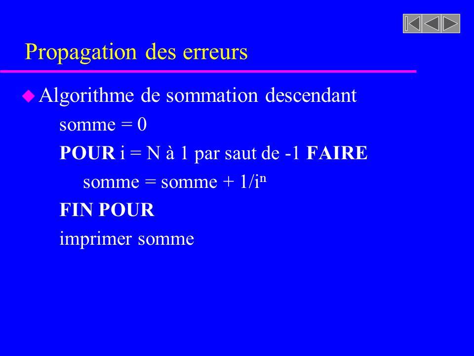 Propagation des erreurs u Algorithme de sommation descendant somme = 0 POUR i = N à 1 par saut de -1 FAIRE somme = somme + 1/i n FIN POUR imprimer som