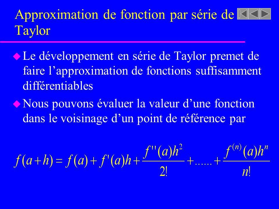 Approximation de fonction par série de Taylor u Le développement en série de Taylor premet de faire lapproximation de fonctions suffisamment différent