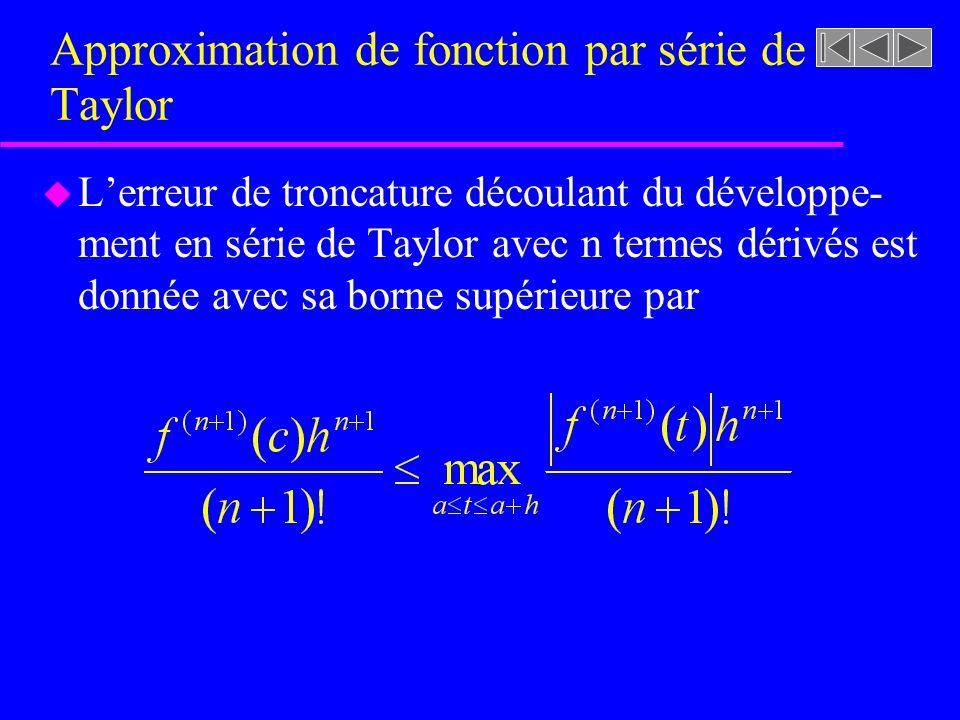 Approximation de fonction par série de Taylor u Lerreur de troncature découlant du développe- ment en série de Taylor avec n termes dérivés est donnée