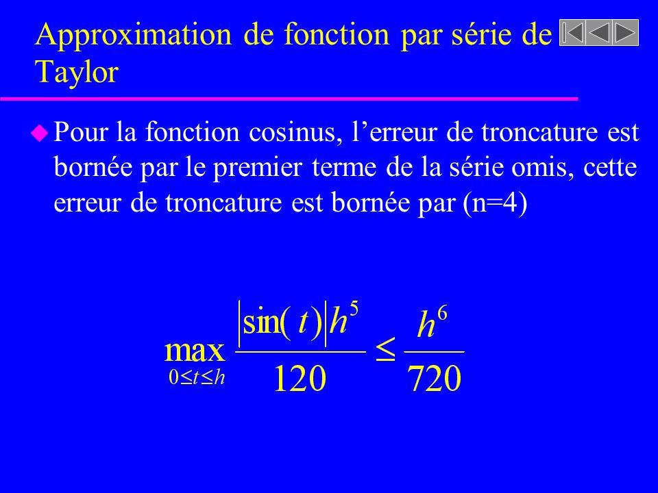 Approximation de fonction par série de Taylor u Pour la fonction cosinus, lerreur de troncature est bornée par le premier terme de la série omis, cett