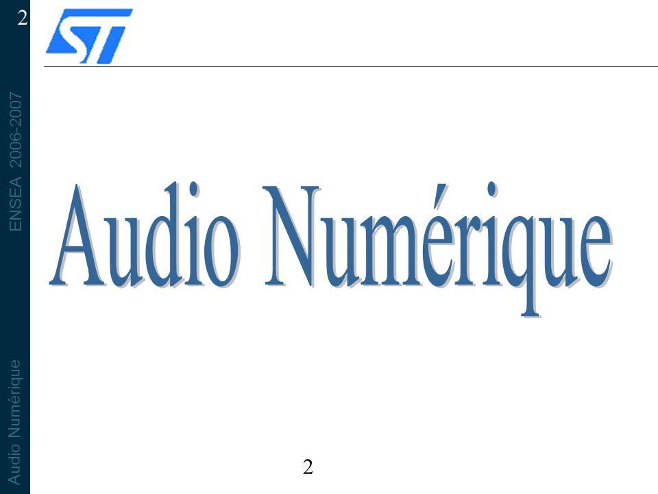 ENSEA 2006-2007 Audio Numérique 33 Perception des fréquences >20kHz Oreille Moyenne: Commence à filtrer passe-bas à partir de ~10kHz Plus grand-chose après 20kHz Cochlée Fonctionne Top-Down Filtre HF est plus proche du tympan Filtre centré sur 15kHz Ultra sons par conduction osseuse.