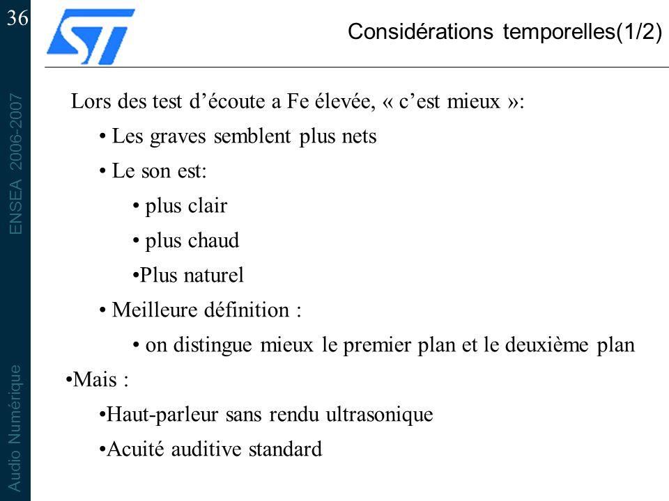 ENSEA 2006-2007 Audio Numérique 36 Considérations temporelles(1/2) Lors des test découte a Fe élevée, « cest mieux »: Les graves semblent plus nets Le