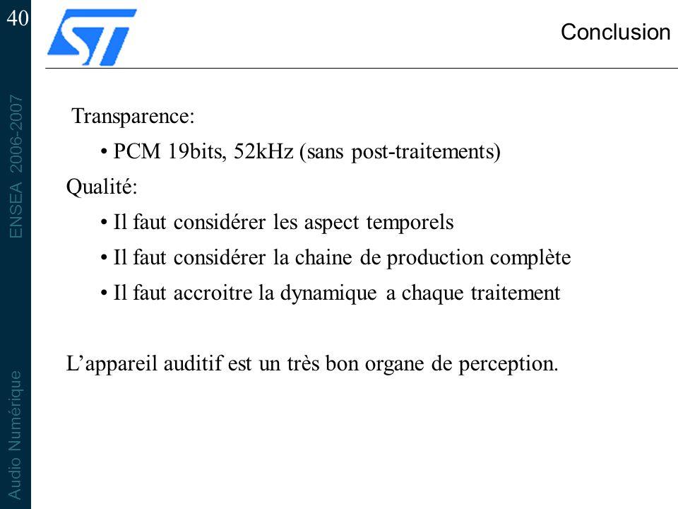 ENSEA 2006-2007 Audio Numérique 40 Conclusion Transparence: PCM 19bits, 52kHz (sans post-traitements) Qualité: Il faut considérer les aspect temporels
