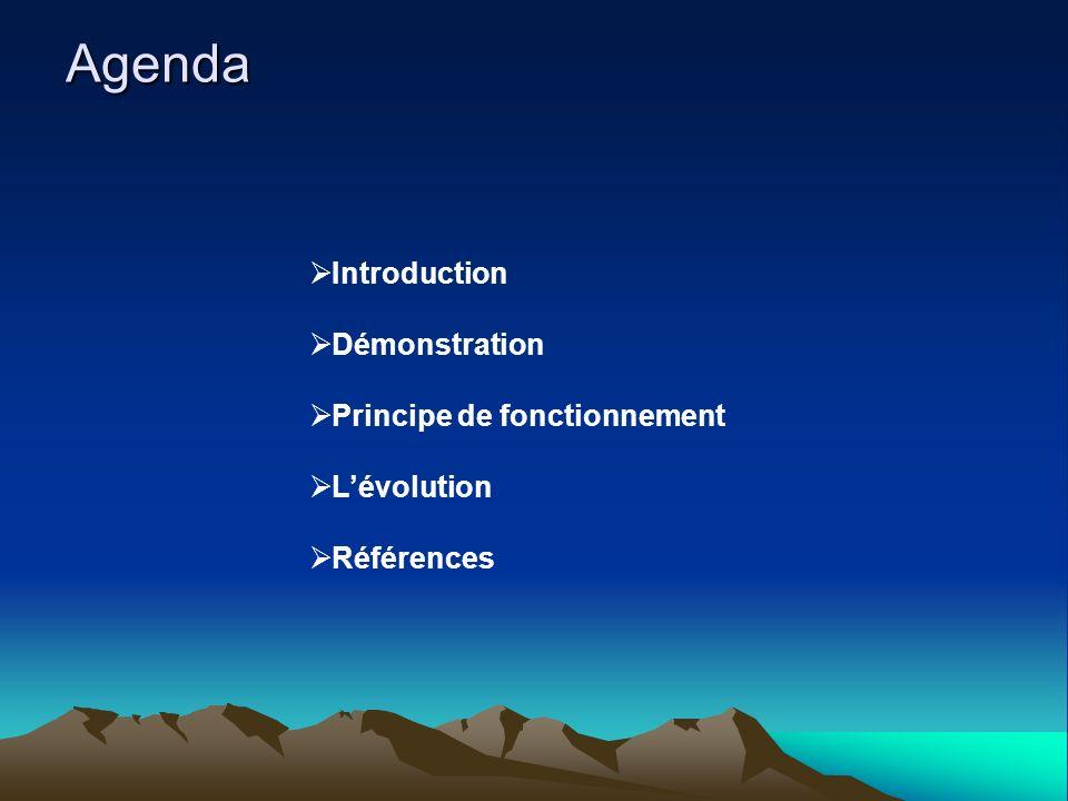 Agenda Introduction Démonstration Principe de fonctionnement Lévolution Références