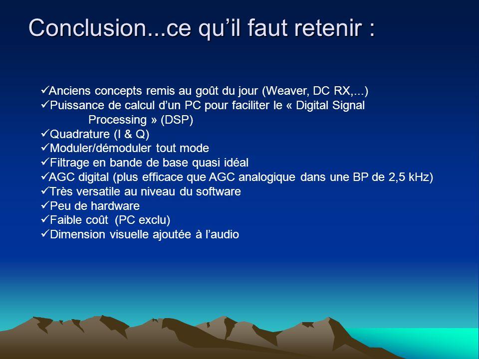 Conclusion...ce quil faut retenir : Anciens concepts remis au goût du jour (Weaver, DC RX,...) Puissance de calcul dun PC pour faciliter le « Digital
