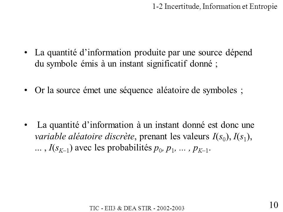 TIC - EII3 & DEA STIR - 2002-2003 10 1-2 Incertitude, Information et Entropie La quantité dinformation produite par une source dépend du symbole émis