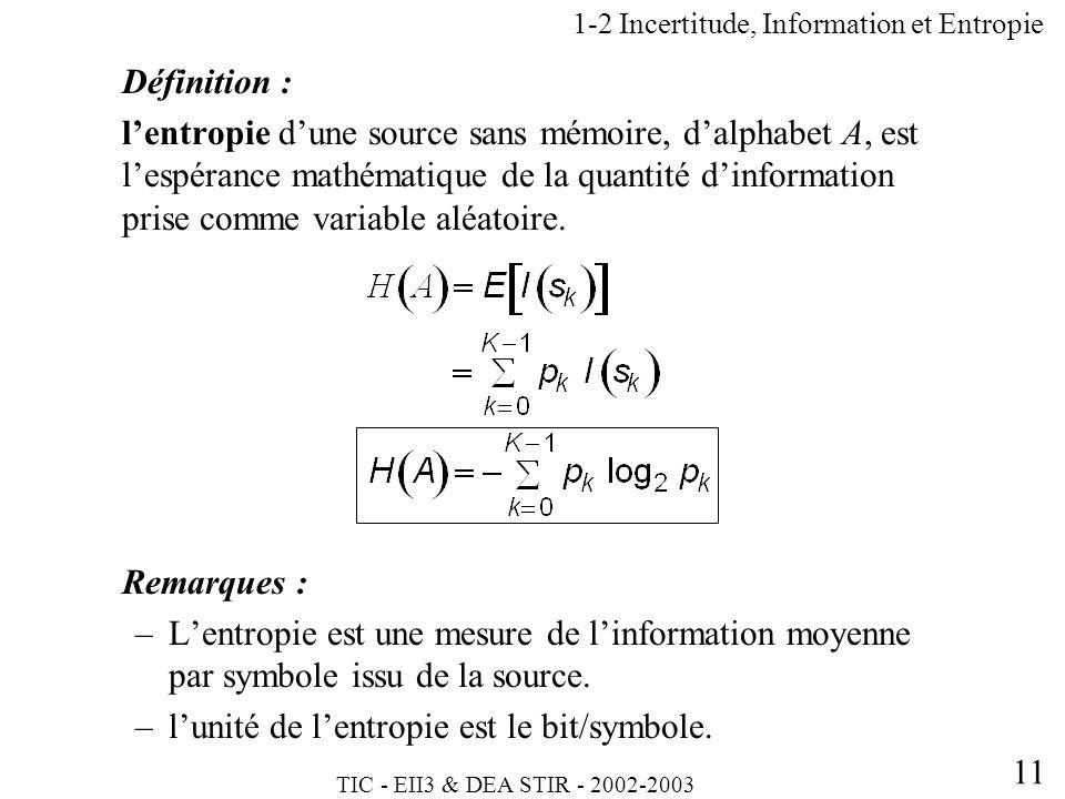TIC - EII3 & DEA STIR - 2002-2003 11 1-2 Incertitude, Information et Entropie Définition : lentropie dune source sans mémoire, dalphabet A, est lespér