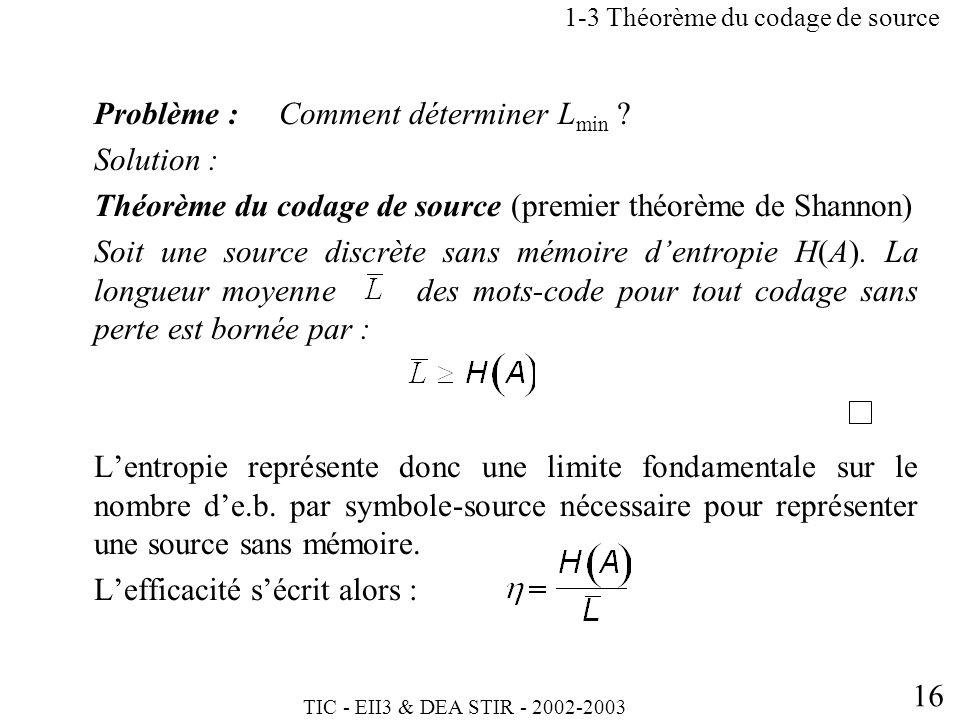 TIC - EII3 & DEA STIR - 2002-2003 16 Problème : Comment déterminer L min ? Solution : Théorème du codage de source (premier théorème de Shannon) Soit